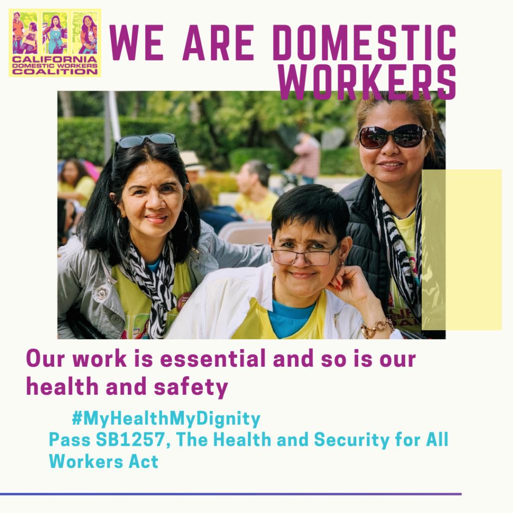 Uno de los gráficos para nuestra campaña digital: trabajadoras domésticas que sonríen en un evento de cabildeo de base.